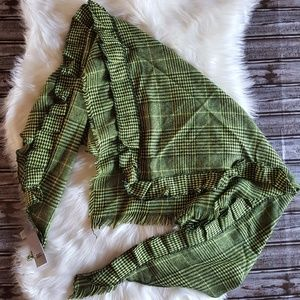 NWT BP Nordstrom Ruffle Plaid Triangle Scarf